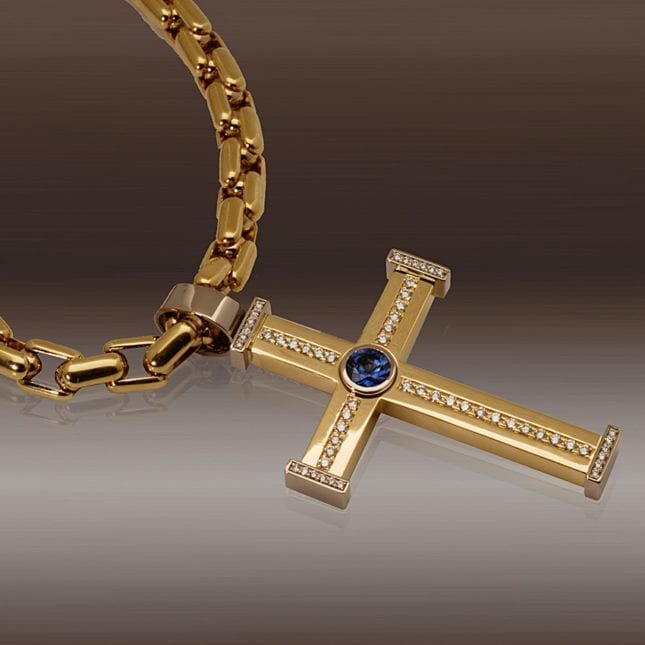 Crucifix with sapphire