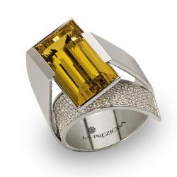 Weißgold Turmalin Brillanten Ring