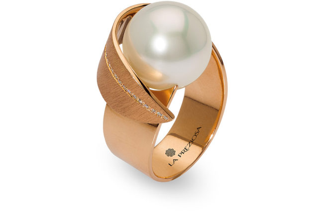 La Preziosa - ring with pearl, redgold, handcraft