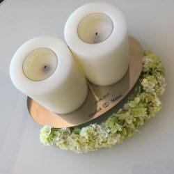 Kerzenständer klein, mit persönlicher Gravur und Kerzen